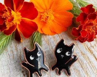 Cat Stud earrings, Black Cat Earrings, Cat Lover Gift, Small black Cat studs, Handmade Jewelry, Kawaii cats, Cut earrings, Pet Jewelry