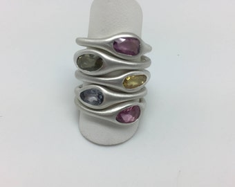 Sapphire and Argentium Rings