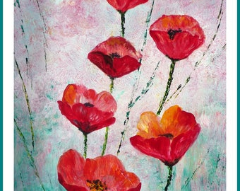 Acrylic - Flower fields, poppies