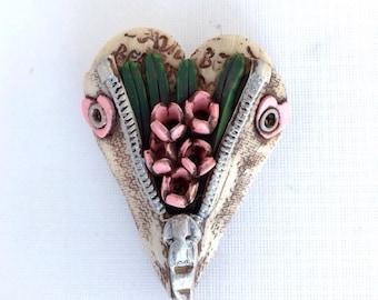 "Unzipped Heart ""Carrying Spring with me"" brooch by Marie Segal 2010"