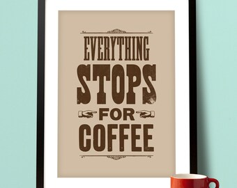 Coffee inspired print, coffee art, kitchen art, typographic print, food and drink, typographic art, coffee poster
