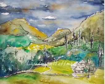 Crawford Notch, New Hampshire mountains watercolor signed limited edition print 8x10 OR 11x14