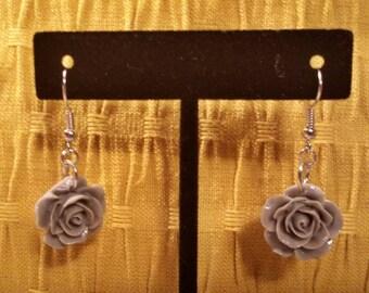 Light Gray Rose Dangle Earrings