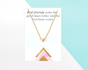 Friendship Necklace Dainty Heart Silver Gold | Friendship Gift | Best Friend Gift | Bestie Gift | Friendship Jewelry