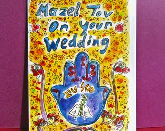 Jewish Wedding Card, Mazel Tov Card, Hamsa LOVE Card, Mazel Tov on Your Wedding, Hand Painted , Hamsa Hand Art, Congratulations, Best Wishes