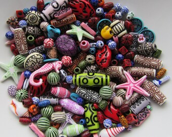 50g Ethnic Tribal Acrylic Beads Colourful Mix Bead Soup Bright Star Fish Charms Sea Hors