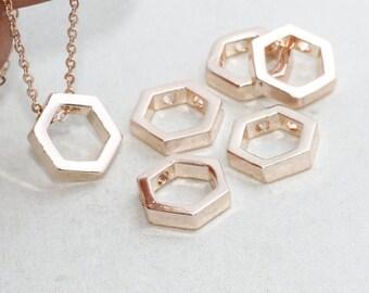 Rose Gold Hexagon Necklace , 10mm, Geometric Hexagon, Hexagon Jewelry , glt , ROSE16