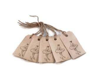Small Gift Tags, Ballerina, Favor Tags, Hang Tags, Tea Stained Tags, Party Favors, Merchandise Tags, Primitive Tags,
