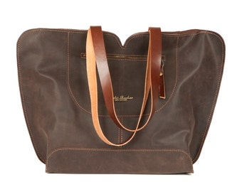 Brown Leather tote, big leather bag, Women bag , The perfect all day tote bag by Ayelet Shachar , Mother's Day Gifts