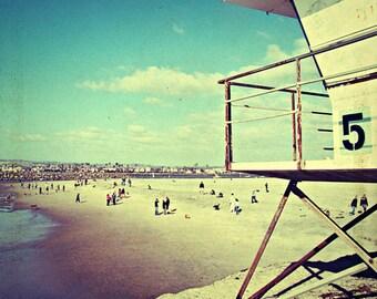 beach photography / vintage beach art print // beach lifeguard stand art - Five, 20x20 art photograph print