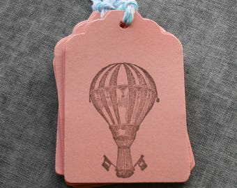 Hot Air Balloon Tags, Hot Air Balloon Paper Tags, Gift Tags,Gift Tags with Baker's Twine, Stamped Tags