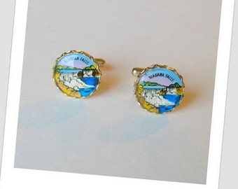 Vintage Round Colorful 50's Souvenir Niagara Falls Cuff Links