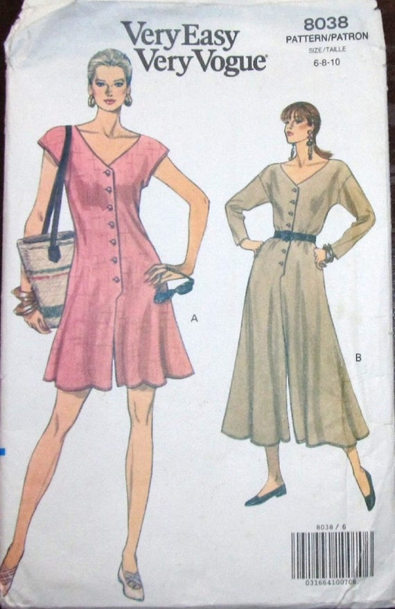 Very Easy Vintage Vogue Sewing Pattern 8038 Romper Playsuit Button ...