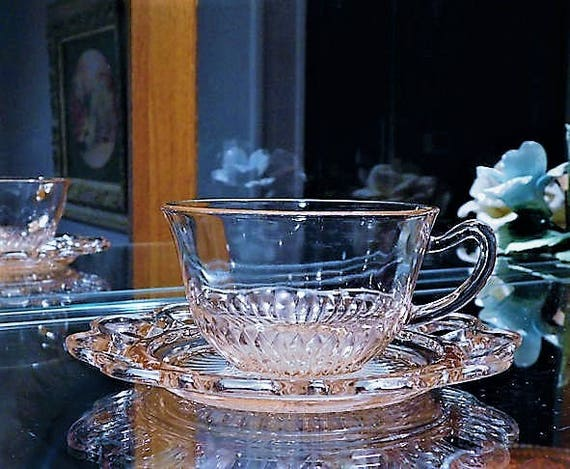 Pink Depression Glass / Cup and Saucer Set / Old Colony / Lace Edge