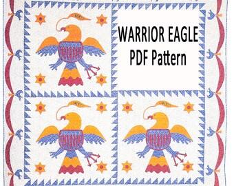 Warrior Eagle: Historic Applique Quilt Pattern. Four Block or Single Block Reproduction Quilt. Civil War Era Patchwork from Barbara Brackman