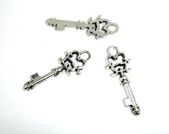 Key Charms, Zinc Alloy, Antique Silver Tone, 11 x 30 mm, 20 pcs, Hole 3 mm (006873098)