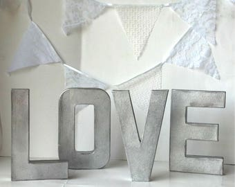 "8"" or 16""- Rustic Metal LOVE Letters- Faux Galvanized Metal"