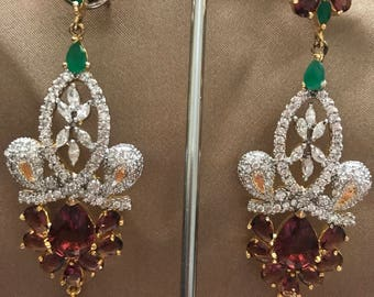 Emerald Earrings| Hyderabadi Wedding Jewelry| Statement Jewelry | Bridal Jewelry | Kundan Earrings | Indian Earrings | Indian Jewelry | Desi