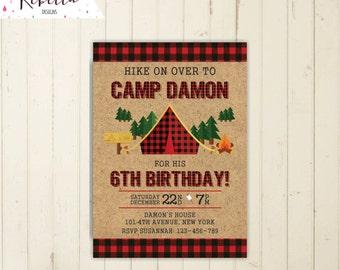 camp out invitation camping invitation camping birthday invitation boy sleepover invitation sleep over invitation  printable campout 268
