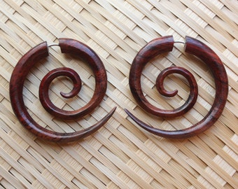 Medium TRIPPI Spiral Earrings- Natural Brown Sono Wood - Hand Carved Tribal Fake Gauges
