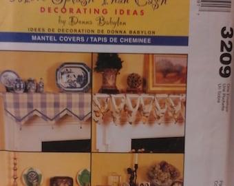 McCalls 3209 - Mantel Covers Pattern - Home Decoraing Pattern