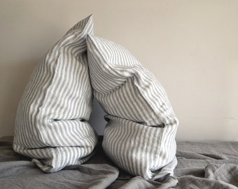 Pinstriped Grey and White stonewashed natural linen pillowcase. Standard / Euro / King sizes available