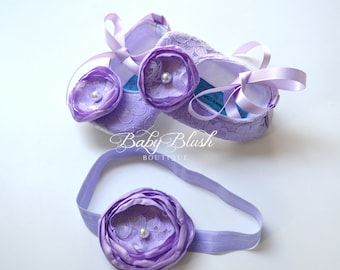 Lilac Lace Baby Ballerina Slippers with Matching Headband