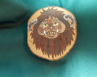Labyrinth film inspired handpainted wooden coaster -ludo