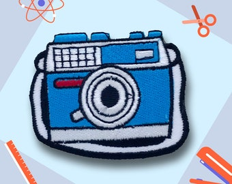 New Cute Camera Blue and White Iron on Sew on Embroidered Patch