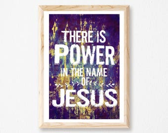 "There Is Power In The Name Of Jesus – 11"" x 17"" print, Bible Verse Wall Art, Christian Art, Gold, Purple,  Scripture Art, Jesus Print, God."