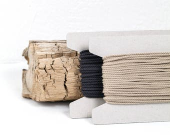 """Natural cotton cord 3 mm, """"Graphite"""" collection, 10 meters - 10,9 yards or 32,8 feet, 2 colours available"""