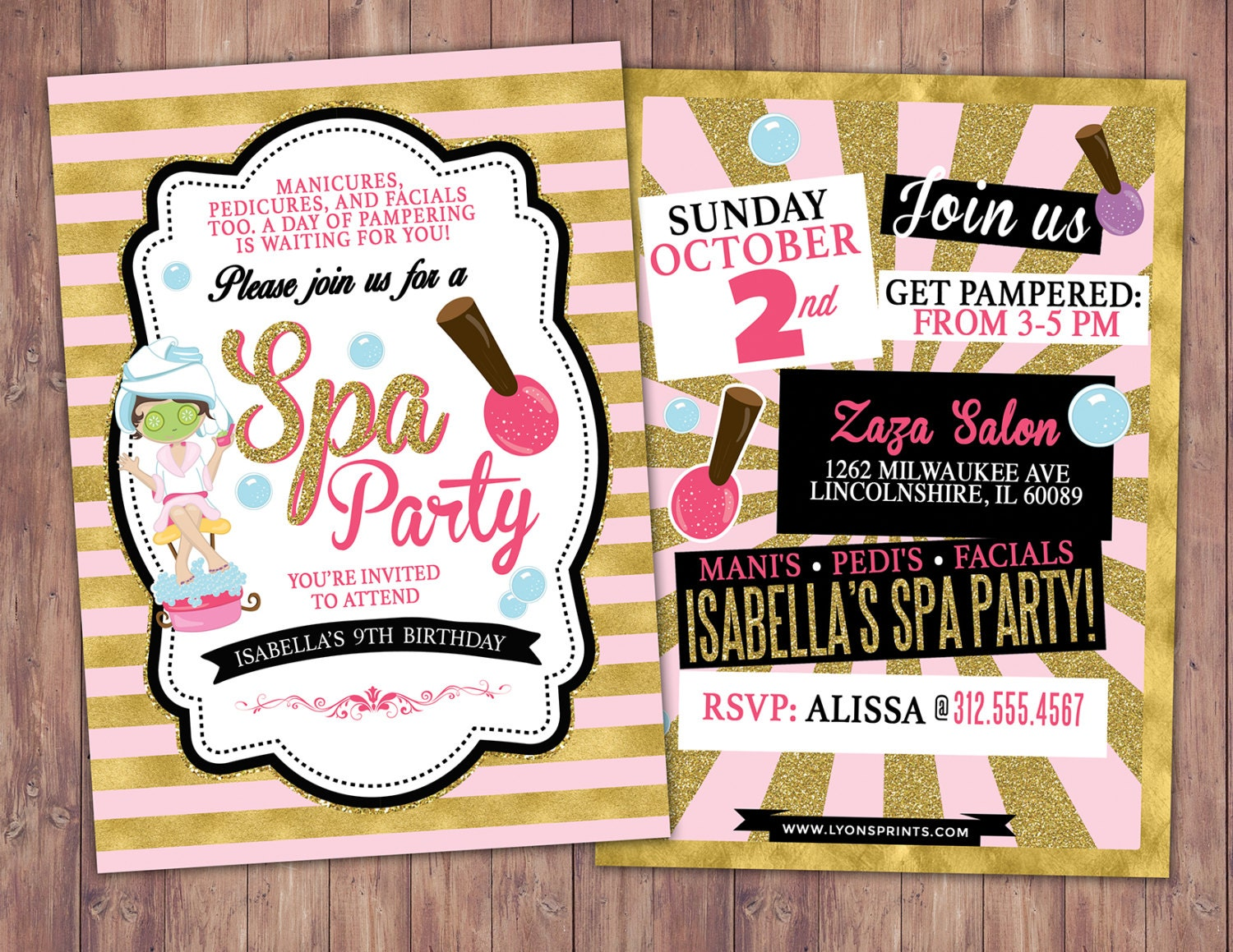Spa party invitation VIP PASS backstage pass Vip invitation