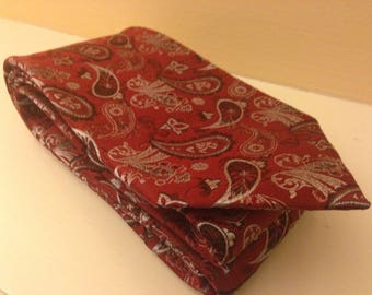 Vintage Red Silk Paisley Tie With Free Shipping