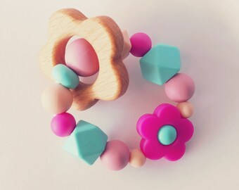 May Flowers - Wood & Silicone Teething Ring