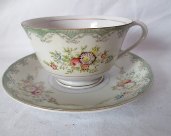 Vintage Tea cup and saucer Bavaria Pink Roses Fine bone china