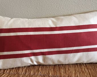 Farmhouse Stripe Pillow Cover Red Stripe Pillow Cover Long Pillow Cover Lumbar Pillow Cover Red Cream Stripe Pillow Cover Farmhouse Decor