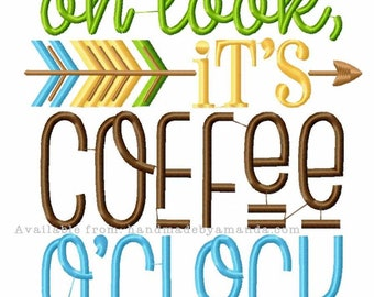 Oh Look, It's Coffee O'Clock kitchen towel - Coffee Quote hand towel - Kitchen towel for Coffee lovers