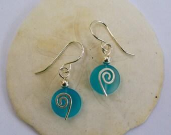 Aqua Sea Glass Earrings, Sterling Silver
