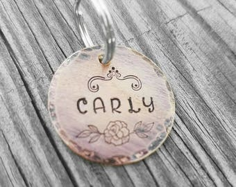 Rustic Copper ID Tag - Custom Made - Hand Stamped - Personalized - Dog ID - Dog Name Tag - Dog Tag - Hand Made Dog ID - Dog Jewelry