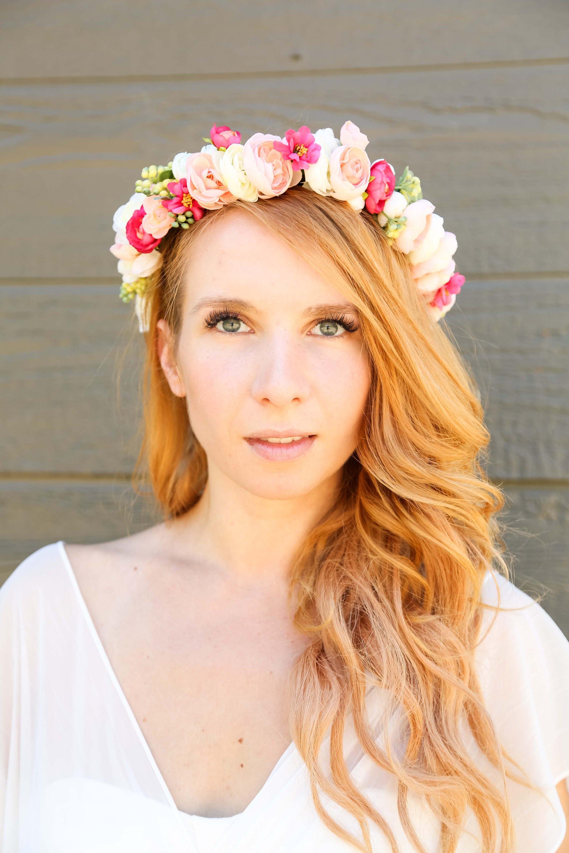 Pastel With Hot Pink Flower Crown Flower Headband Headband