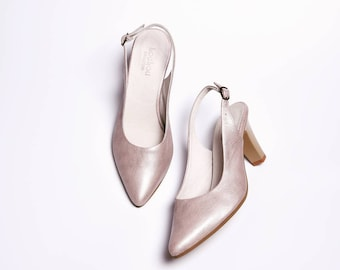 Silver high heel shoes leather handmade