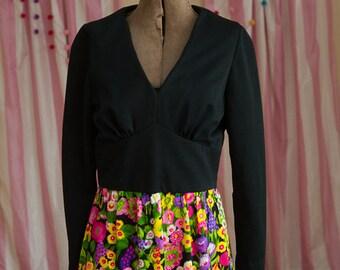 Vintage Gown - Maxi Evening 60s 70s Mod Neon Floral Black V neck