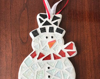 Snowman Ornament, Stained Glass Mosaic Snowman, Christmas Ornament, Mosaic Ornament, Hostess Gift, Snowman Decor, Mother's Day Gift