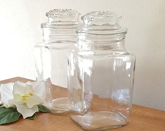 Vintage Apothecary Jars Glass Canister Set of 2 Storage Jars Clear Glass Storage Jars Two Jars with no Seal