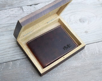 Mens wallet, leather wallet, engraved wallet, personalized wallet, groomsmen wallet, custom wallet, minimalist wallet, gift set, fathers day