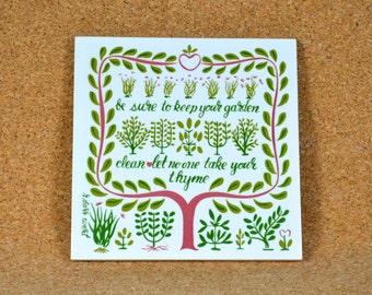 """Gardener's Motto Tile Trivet, R. Darr Wert, Summer Garden Herbs, Folk Art Motto, Pun on Word """"Thyme"""", 1960s Robert Wert Hand Screen-printed"""