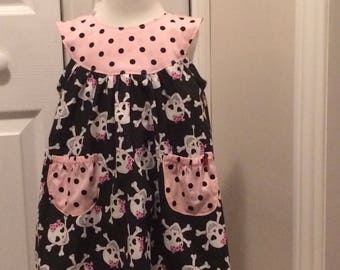 SKULLS with bows little girl dress