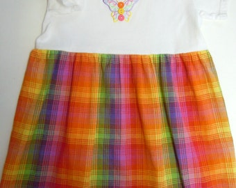 SALE! - Girls Size 4 Bright Color Cotton Plaid Dress With Butterfly Applique