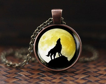Howling Wolf Moon Pendant, wolf necklace, wolf jewelry, full moon necklace, yellow moon pendant, men's necklace