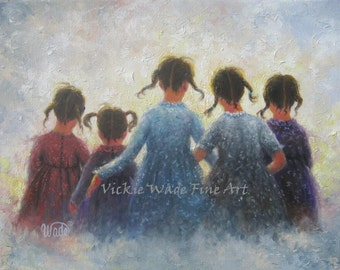 Five Sisters Art Print, five girls, pigtails, wall art prints, five loving sisters, sisterhood, best friends, friends, Vickie Wade Art